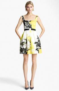 Christopher Kane Yellow Floral Print Circle Skirt Dress