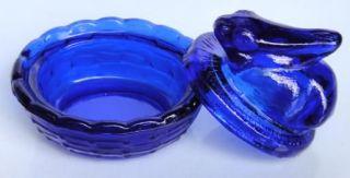 Cobalt Blue Glass Bunny on Basket Miniature Salt Dish