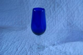 Cobalt Blue Crystal Wine or Flute glass with twisted Clear Stem