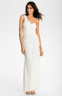 Xscape Beaded One Shoulder Sheer Mesh Gown