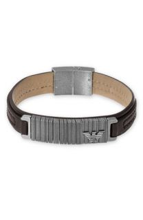 Emporio Armani Leather Bracelet with Stainless Steel Discs