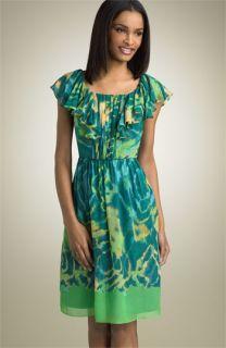 Max & Cleo Flutter Sleeve Silk Dress