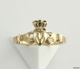 Claddagh Ring 10K Solid Yellow Gold Diamond Cut Irish Love Heart Hands