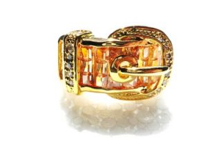 Gold Plated Band Luminous Crystals Ladies Buckle Ring 8