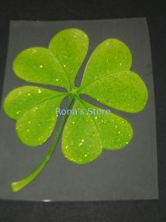 Four 4 Leaf Clover Lucky Iron on Patch Heat T Shirt Transfer Decal