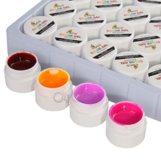 36 Color Nail UV Gel Builder Powder Set Pure Color UV Nail Art Tips