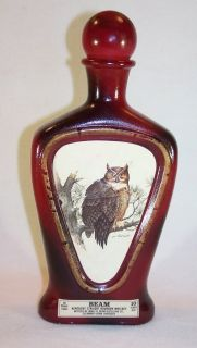 Lockhart Wildlife Series Jim Beam Red Decanter Bottle Horned Owl