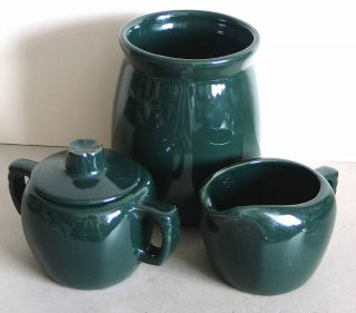Vintage FRANKOMA Pottery Coffee Set Creamer Sugar Unusual Shamrock Lid