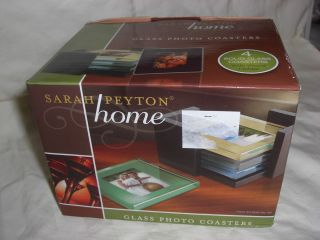 Set of 4 Photo Picture Frame Colored Glass Coasters By Sarah Peyton