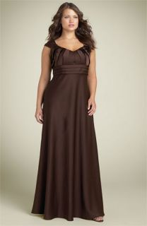 Calvin Klein Pleated Sweetheart Satin Dress (Plus)