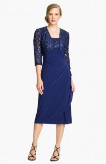 Alex Evenings Draped Jersey Dress & Embroidered Jacket