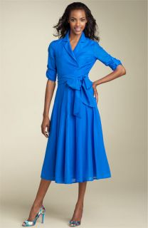 Jones New York Dress Voile Shirtdress with Sash