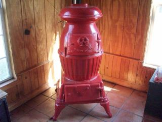 Antique Wood & Coal Burning Large Pot Belly Stove, Totally