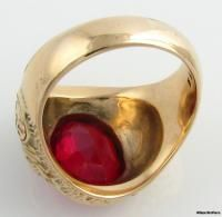 Vintage High Point College Syn Red Spinel Mens Class Ring 10K Yellow