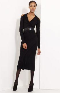 Donna Karan Collection Cold Shoulder Draped Jersey Dress