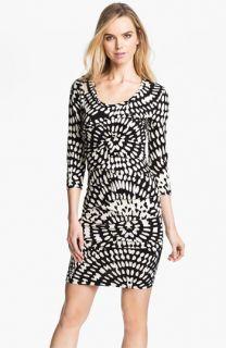 Nicole Miller Mosaic Print Ruched Jersey Sheath Dress