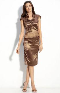 Xscape Ruffle Collar Shimmer Satin Sheath Dress (Petite)