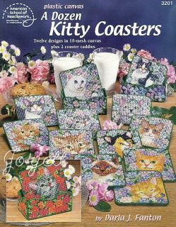 Dozen Kitty Coasters plastic canvas patterns OOP