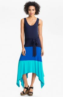 Calvin Klein Colorblock High/Low Jersey Maxi Dress