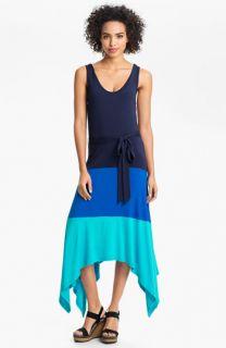 Calvin Klein Colorblock High/Low Jersey Maxi Dress