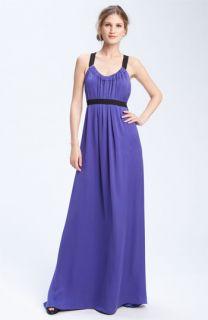 Theory Deshena   Poignat Harness Plunge Silk Maxi Dress