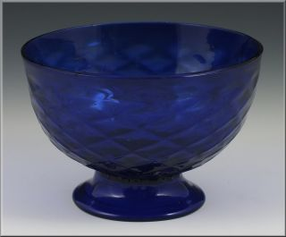 19thC Pittsburgh Cobalt Glass Bowl w/ Diamond Quilted Pattern