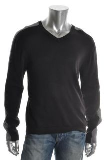Kenneth Cole New Black Long Sleeve V Neck Ribbed Pullover Sweater