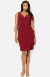 Lauren Ralph Lauren V Neck Jersey Sheath Dress (Plus)