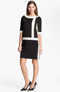 Ellen Tracy Contrast Trim Front Zip Dress