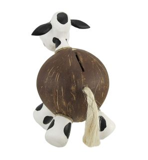 25611 milk cow recycled coconut shell coin money bank 2I
