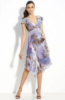 Komarov Ruffle Trim Pleated Chiffon Dress
