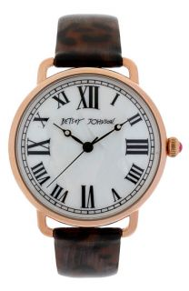 Betsey Johnson Round Dial Leather Strap Watch