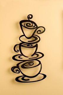Laser Cut Metal Coffee Art Plaque Wall Hanging New
