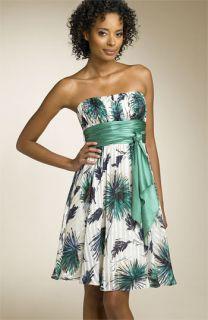 BCBGMAXAZRIA Strapless Floral Silk Dress