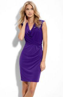 Donna Ricco Cowl Neck Matte Jersey Dress