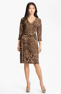 Anne Klein V Neck Leopard Print Dress (Petite)