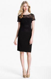 Adrianna Papell Illusion Yoke Pleated Jersey Dress
