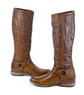 Womens Phillip Harness Leather Cognac Brown Tall Boot 8 New