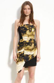 Leith Strapless Draped Silk Dress