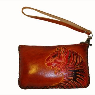 Leather Coin Purse ID Holder Rectangle Shape Embossed Tiger Brown