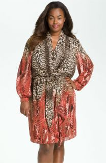 Donna Ricco Animal Print Surplice Chiffon Dress (Plus)