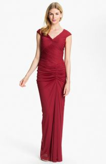 Adrianna Papell Front Twist Ruched Mesh Gown