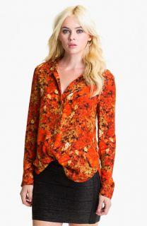 Haute Hippie Floral Print Silk Shirt