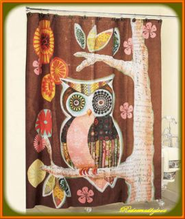 BATHROOM BROWN OWL TREE FLORAL LEAVES FABRIC SHOWER CURTAIN CHOCOLATE