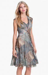 Komarov V Neck Animal Print Chiffon Dress