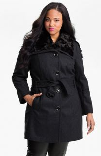 Miss Sixty Walking Coat with Faux Fur Collar (Plus) (Online Exclusive)
