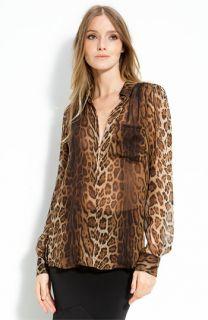 Haute Hippie Leopard Print Chiffon Blouse