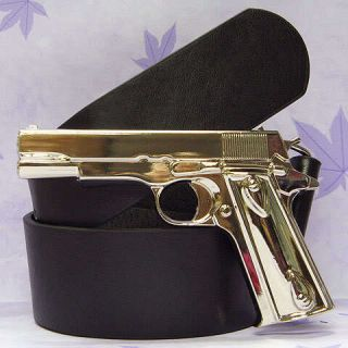 Colt 45 Pistol Gun Military Metal Chrome Silver Buckle Belt BL020A