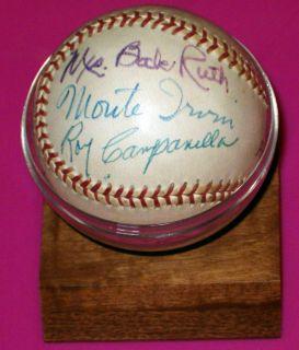 Babe Ruth Mrs Lou Gehrig Signed Baseball Conlan Spahn Leonard More LOA