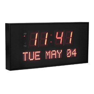 JUMBO WALL CLOCK DIGITAL RED LED CALENDAR DAY DATE BIG LARGE GIANT